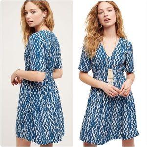 EUC Anthropologie blue white diamond print dress